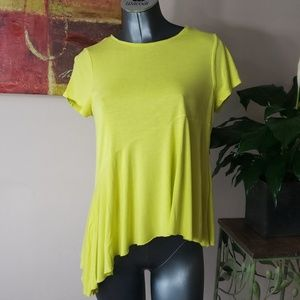 ZARA neon yellow short sleeve high low tee small